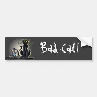 シャロンSHARPE著黒猫及び帽子 バンパーステッカー