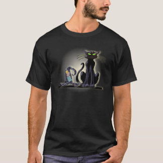 シャロンSHARPE著黒猫及び帽子 Tシャツ