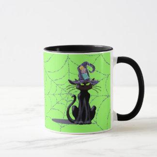 シャロンSHARPE著黒猫、帽子及びくもの巣 マグカップ