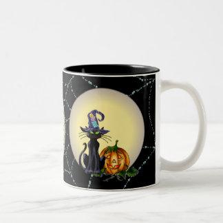 シャロンSHARPE著黒猫、帽子、月及びジャック ツートーンマグカップ