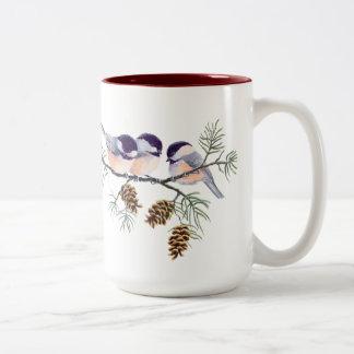 シャロンSHARPE著3つの《鳥》アメリカゴガラ及び円錐形 ツートーンマグカップ