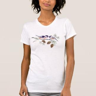 シャロンSHARPE著《鳥》アメリカゴガラ及びマツ円錐形 Tシャツ
