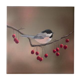 シャロンSHARPE著《鳥》アメリカゴガラ及び赤い果実2 タイル