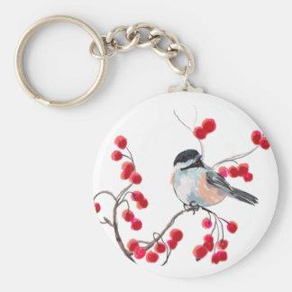 シャロンSHARPE著《鳥》アメリカゴガラ及び赤い果実 キーホルダー