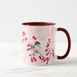 シャロンSHARPE著《鳥》アメリカゴガラ及び赤い果実 マグカップ