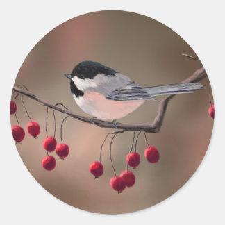 シャロンSHARPE著《鳥》アメリカゴガラ及び赤い果実 ラウンドシール