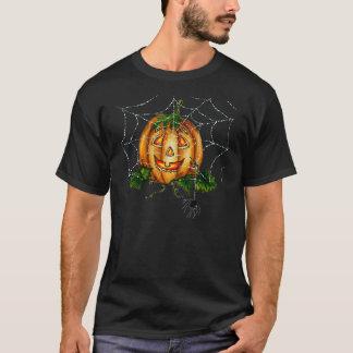 シャロンSHARPE著SPIDERWEB、カボチャ顔及びくも Tシャツ