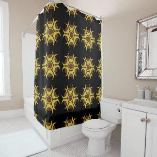 シャワー・カーテンのグランジな円のロゴ シャワーカーテン