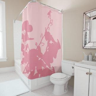 シャワー・カーテンのピンクのハチドリ シャワーカーテン