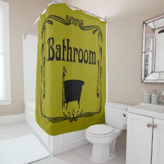 シャワー・カーテンのヴィンテージの浴室のたらいのマスタードの黄色 シャワーカーテン