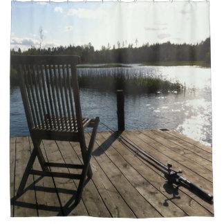 シャワー・カーテン湖のコテッジの魚釣り シャワーカーテン