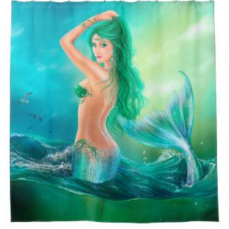 シャワー・カーテン、波の海の人魚のファンタジー シャワーカーテン