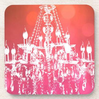 シャンデリアのきらめくなピンク コースター