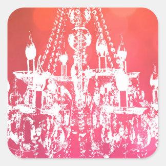 シャンデリアのきらめくなピンク スクエアシール