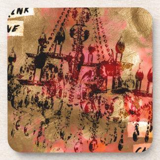 シャンデリアのシャンペンのピンク コースター