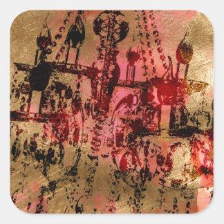 シャンデリアのシャンペンのピンク スクエアシール