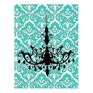 シャンデリアのシルエットのティール(緑がかった色)のダマスク織 ポストカード