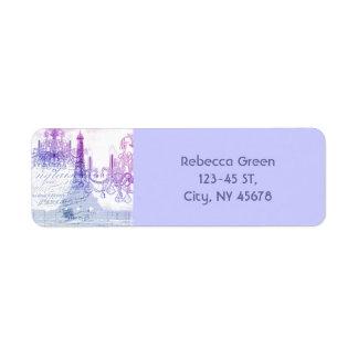 シャンデリアのパリシックでフランスのな紫色のエッフェル塔 ラベル
