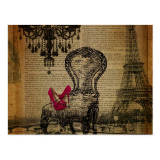 シャンデリアのパリバロック式のロココ様式のエッフェル塔 ポストカード