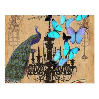 シャンデリアのモダンなヴィンテージの孔雀青の蝶 ポストカード