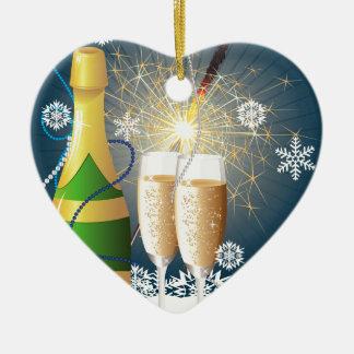 シャンペンおよびキラキラ輝く物 セラミックオーナメント