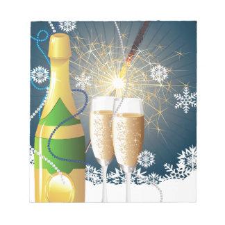 シャンペンおよびキラキラ輝く物 ノートパッド