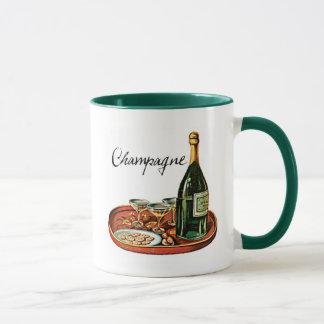 シャンペンおよびビスケットのヴィンテージのプリント マグカップ