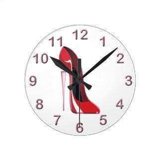 シャンペンのかかとの赤い小剣の靴の芸術 ラウンド壁時計