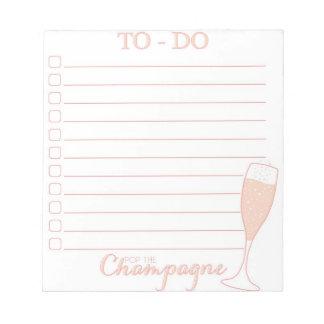シャンペンのしなければならないことのリストをぽんと鳴らして下さい ノートパッド