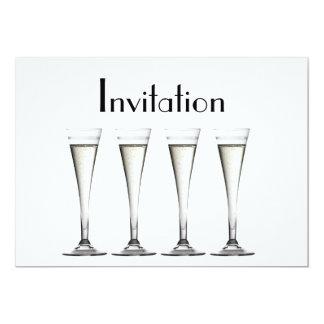 シャンペンのガラスデザインの招待状 カード
