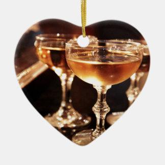 シャンペンのガラス金トースト セラミックオーナメント