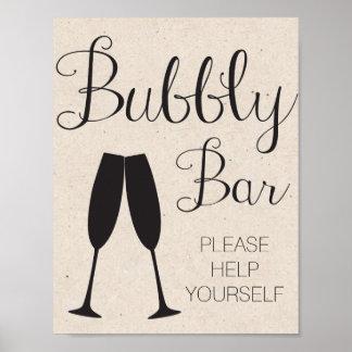 シャンペンのバーの結婚式の印 ポスター