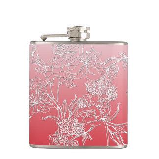 シャンペンのピンクの背景のモダンで白い花柄 フラスク