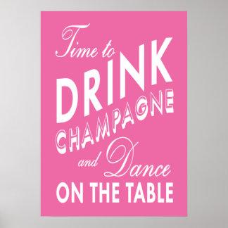 シャンペンのピンクポスターを飲む時間 プリント