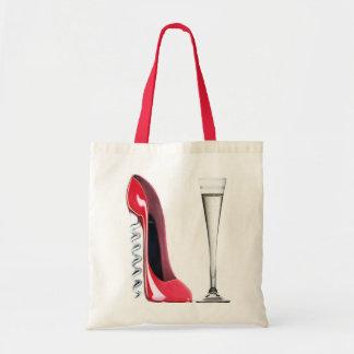 シャンペンのフルートガラスおよびコルクせん抜きの小剣の靴 トートバッグ