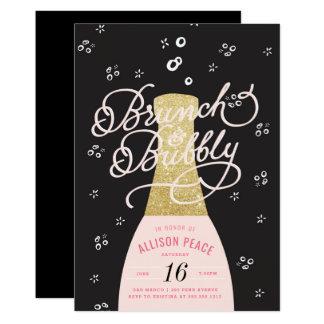 シャンペンのブランチおよび快活なシャワーの招待状 カード