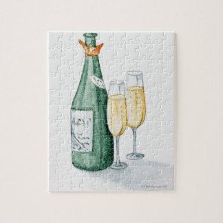 シャンペンのボトルおよび2つのガラス ジグソーパズル