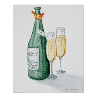 シャンペンのボトルおよび2つのガラス ポスター