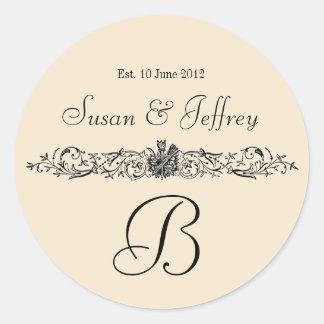シャンペンのモノグラムのロゴは日付の結婚式のラベルを示します ラウンドシール