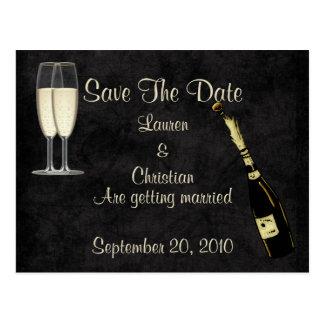 シャンペンの保存日付(黒) ポストカード