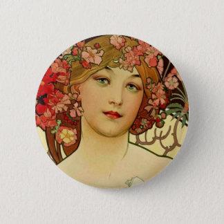 シャンペンの女性1897年- F. Champenois Imprimeur 5.7cm 丸型バッジ