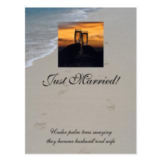 シャンペンの日没、たった今結婚しました! ポストカード