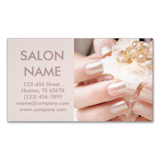 シャンペンの金ゴールドのネイルのファッションの美しいのスパのネイルサロン マグネット名刺