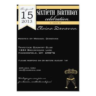 シャンペンの金ゴールド、白くおよび黒い第60誕生日 11.4 X 15.9 インビテーションカード