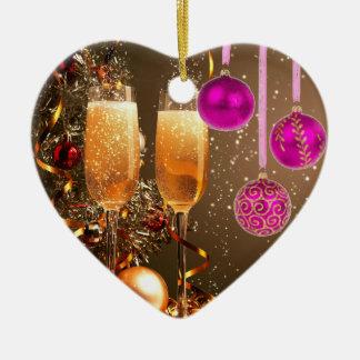 シャンペンの3つの紫色の球 セラミックオーナメント