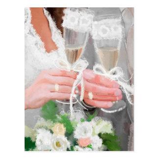 シャンペンガラスが付いている結婚式のカップル ポストカード