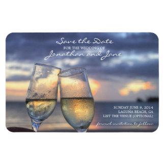 シャンペンガラスの保存を結婚するビーチの海日付 マグネット