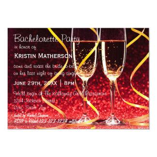 シャンペンガラスの写真-バチェロレッテ 12.7 X 17.8 インビテーションカード
