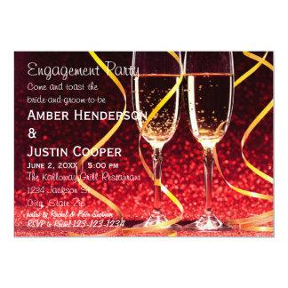 シャンペンガラスの写真-婚約パーティ カード