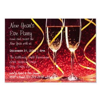 シャンペンガラスの写真- 3x5大晦日のパーティー カード